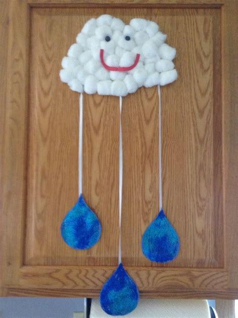 pre k crafts cotton cloud and drops preschool