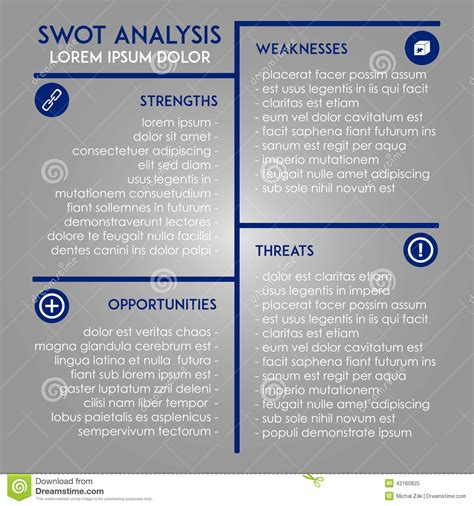 design analysis template analysis template swot in marketing stock vector image