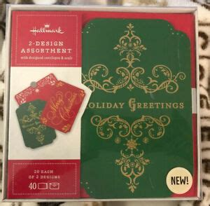hallmark boxed  green holiday   red merry christmas cards envelopes ebay