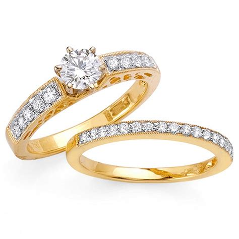 1 05ct tcw 14k yellow gold bridal ring set 9008287 shop