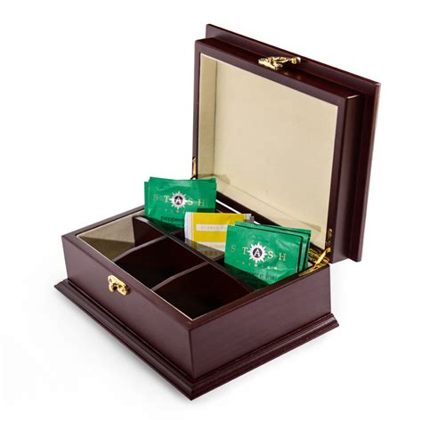 personalized rosewood finish wooden tea box
