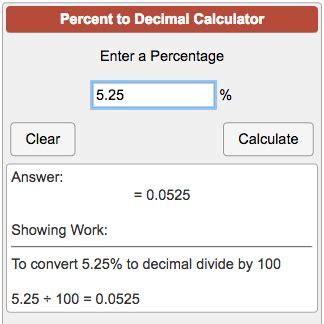 calculator decimal percent to decimal calculator