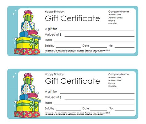 birthday gift card templates free printable gift certificate templates sleprintable
