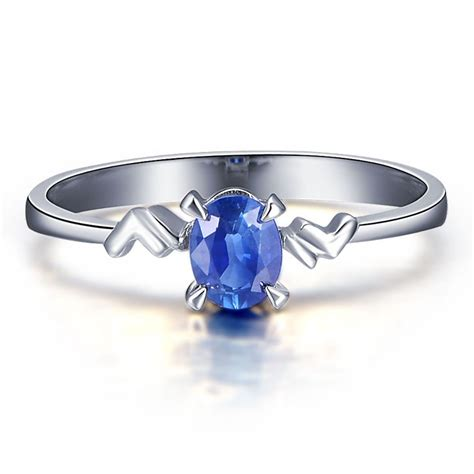 sapphire solitaire engagement ring on 10k white gold