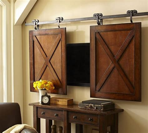 Barn Door Tv Cover Rolling Cabinet Media Solution Home Ideas Inspiration