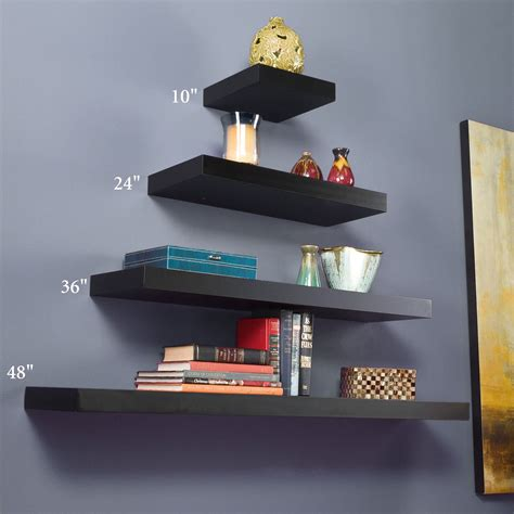 floating wall shelves manhattan black wooden floating wall shelves