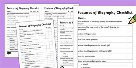 features of biography primary resources features of a biography writing checklist features