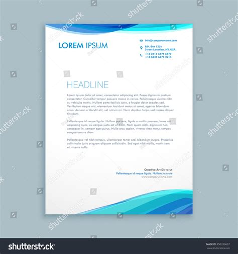 business letterhead with blue waves business blue wave letterhead design stock vector