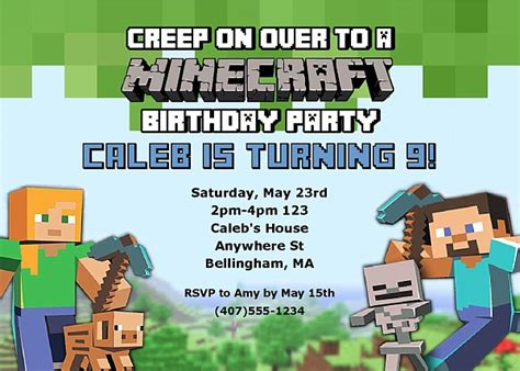 minecraft birthday party invitations kids birthday