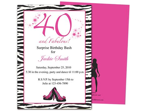 invitation templates 40th birthday http