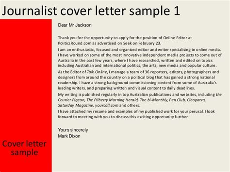 journalism cover letter exles journalist cover letter