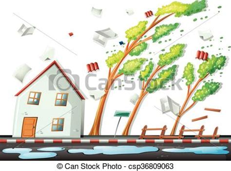 Windy Day Plumbing by Clip Vector Of Heavy In The City Illustration