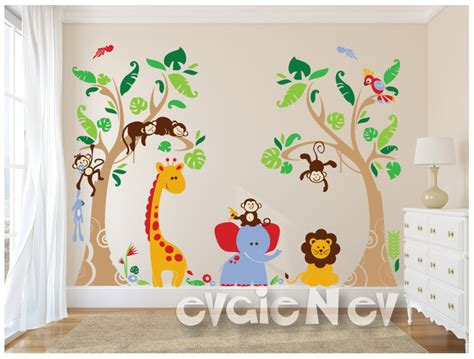 Jungle Safari Wall Decals Baby Wall Decals Nursery Wall Jungle Wall Decal For Nursery