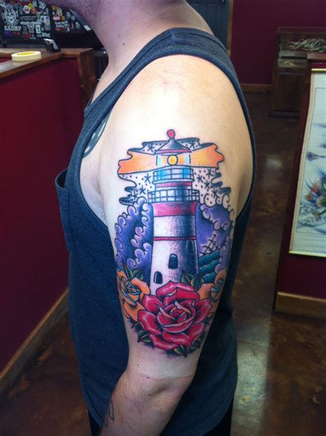 fast lane tattoo david meek tattoos traditional lighthouse and roses half