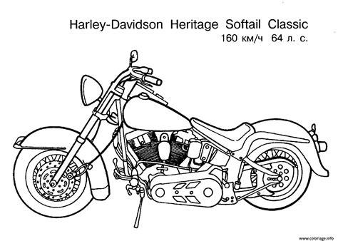 Coloriage Harley Davidson Moto Heritage Softail Classic Dessin