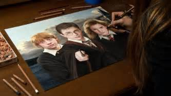 drawing harry potter weasley and hermione granger