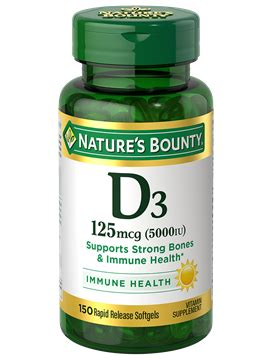 vitamin d3 125 mcg (150 rapid release softgels) | nature