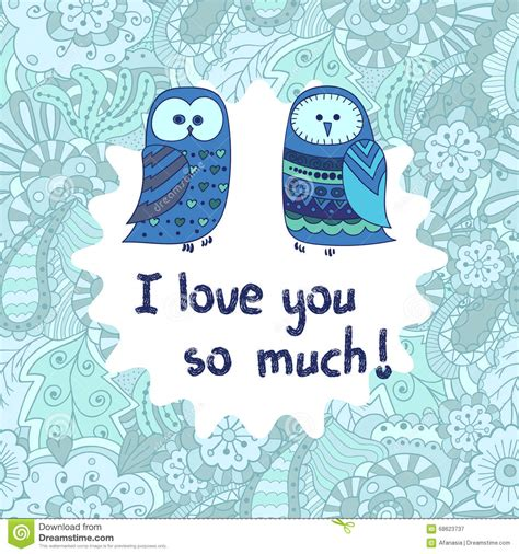 i you this much card template lovely vector card template with sweet owls stock vector