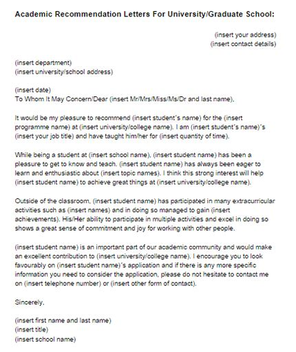 Recommendation Letter Templates For Graduate School Recommendation Letter For College Template Resume Builder