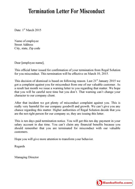 termination letter format for misbehaviour formal letter writing to editor of newspaper letters