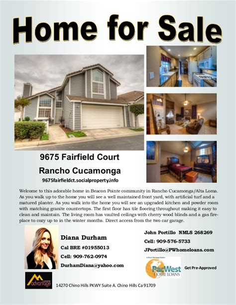 Diana Durham Rancho Cucamonga Home For Sale Flyer Template For Selling A House