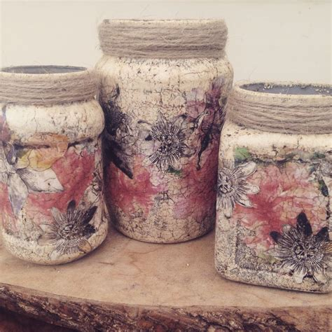 Decoupage Glass Jars - chalk paint and decoupage cases with crackle glaze these