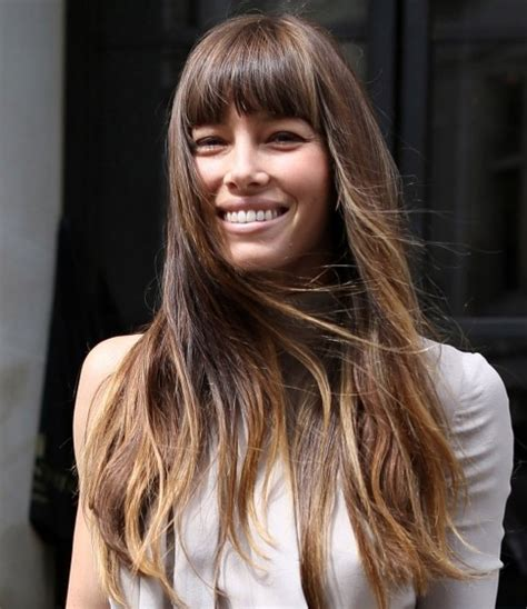 long thick hair blunt bangs jessica biel long hairstyle straight haircut with thick