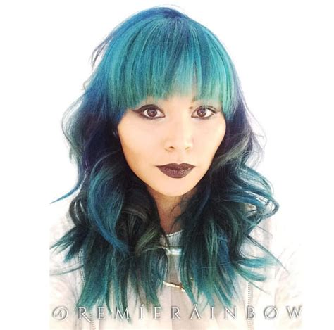 mermaid shag haircuts blue green and turquoise creative color and long shag