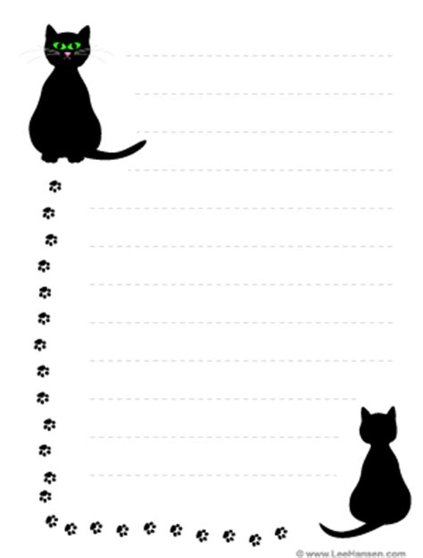 lined paper with cat border printable cats and pawprints border paper with lines