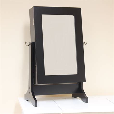 Hartleys Black Jewellery Cabinet Mirror Organiser Box