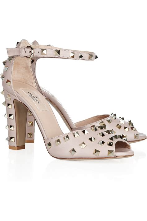 valentino studded sandals valentino studded leather sandals in gray lyst