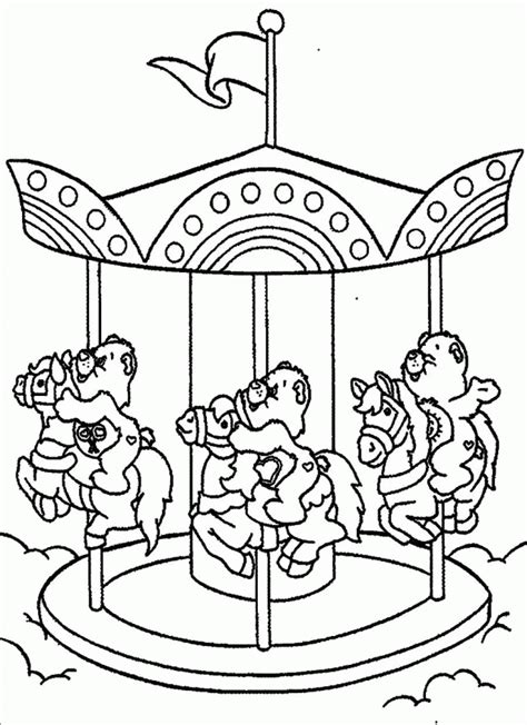 Download Care Bears Riding On Merry Go Round Coloring Merry Coloring Pages Pdf