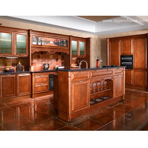 solid kitchen cabinets china oppein red oak solid wood kitchen cabinet op11 l054