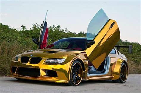 24k Gold Lamborghini Opulent Gold Bmw M3 With Lambo Doors Spotted Techeblog