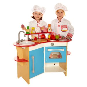 cooks corner wooden play kitchen by melissa and doug 13950
