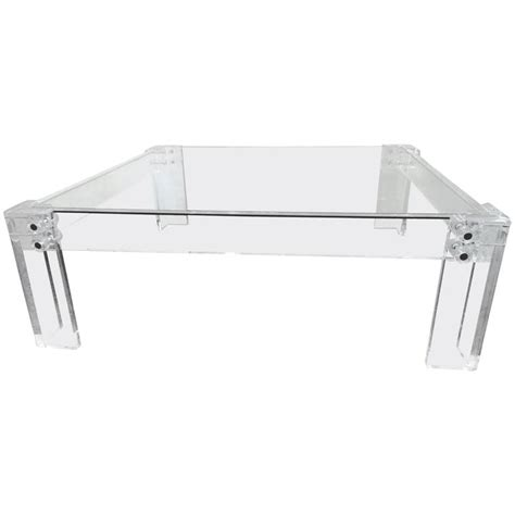 square acrylic coffee table 1970s glass and acrylic square coffee table at 1stdibs