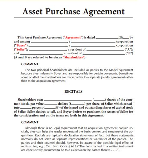 Asset Purchase Agreement Template sle asset purchase agreement 8 documents in word pdf