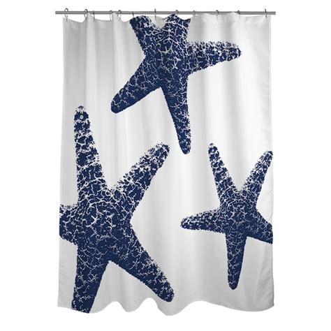 starfish shower curtain thumbprintz nautical nonsense blue white starfish shower