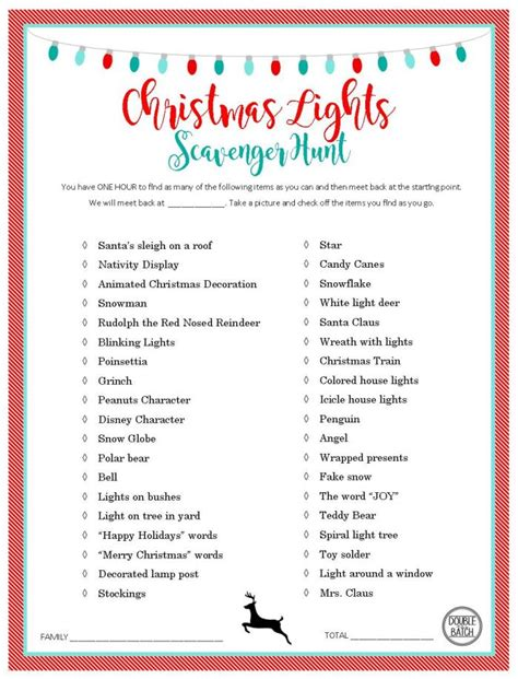 christmas light scavenger hunt free printable list and