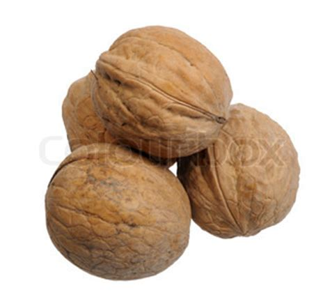 pyramid of walnuts on white background, isolated   stock