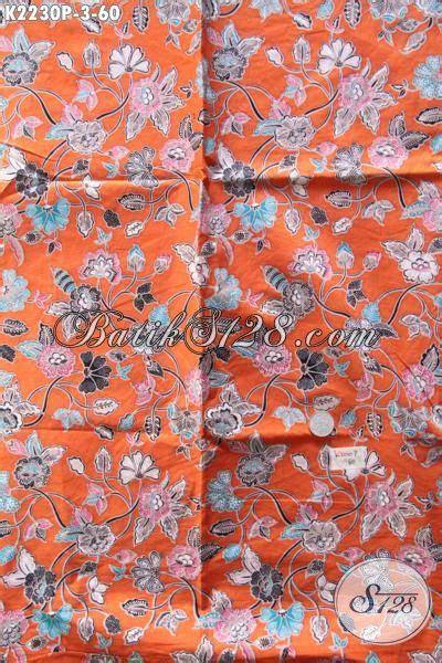 Kain Batik Halus Motif Cendrawasih Orange Bahan Batik Promo jual harga grosir kain batik printing dasar orange