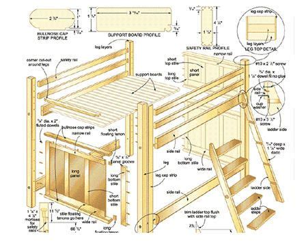 full size loft bed plans complete view  parts exploded