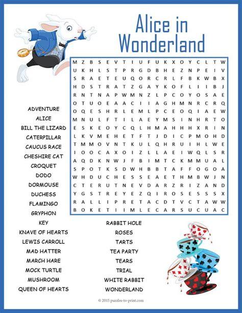 Alice In Wonderland Printable Word Search | alice in wonderland word search lewis carroll search
