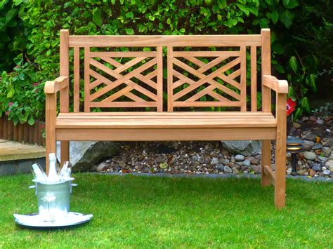 bench garden oxford cross weave back teak bench 120cm teak bench cross weave back
