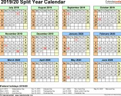 split year calendars  july  june  templates