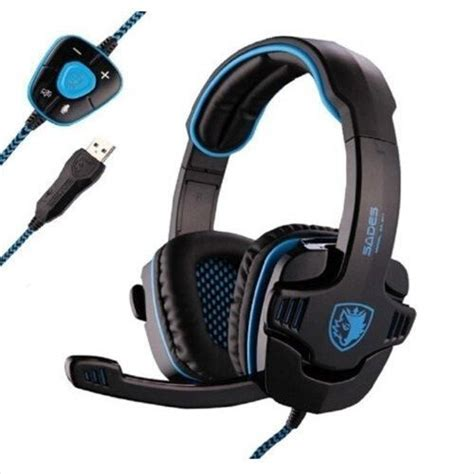 Headset Sades Usb sades 901pro surround sound gaming headset usb stereo headphones with mic headband blue black