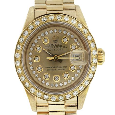Rolex Sepasang Gold Cover Gold by Rolex Datejust 6917 Chagne Bezel 18k Gold