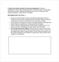 classroom management plan template sle classroom management plan template 9 free