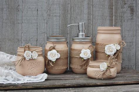 bathroom jar mason jar bathroom set earth tones neutral brown shabby chic soap dispenser