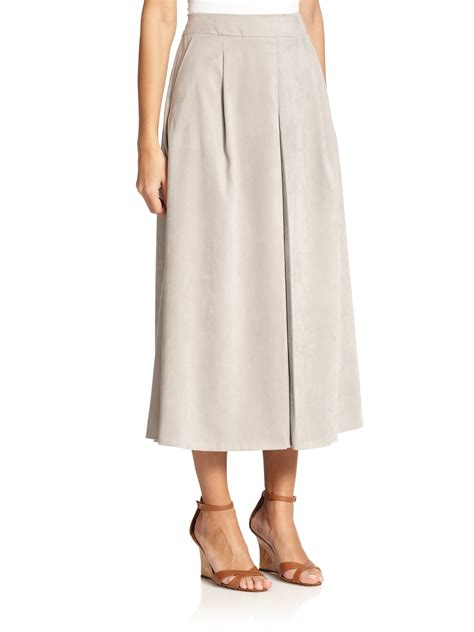 max mara giove faux suede midi skirt in lyst